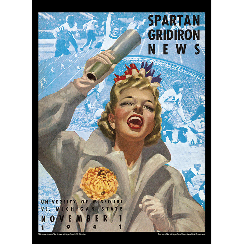 2017 Vintage Michigan State Spartans Calendar February Image