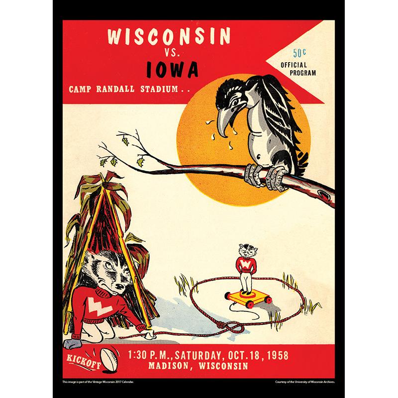 2017 Vintage Wisconsin Badgers Football Calendar April Image