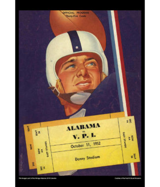 2018 Vintage Alabama Crimson Tide Football Calendar April