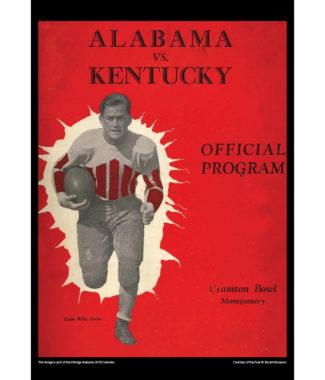 2018 Vintage Alabama Crimson Tide Football Calendar January