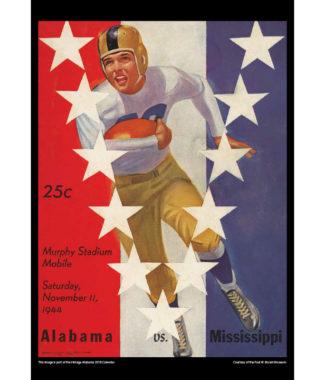 2018 Vintage Alabama Crimson Tide Football Calendar September