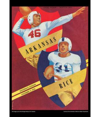 2018 Vintage Arkansas Razorbacks Football Calendar February