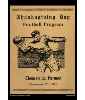 2018 Vintage Clemson Tigers Football Calendar November