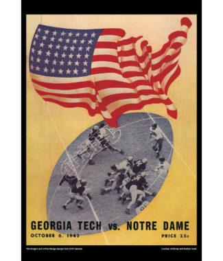 2018 Vintage Georgia Tech Yellow Jackets Football Calendar July