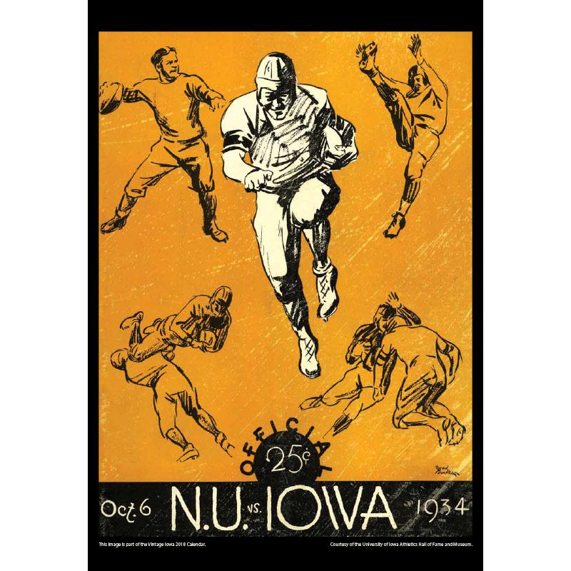 2018 Vintage Iowa Hawkeyes Football Calendar January
