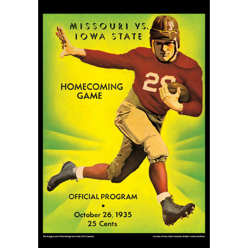 2018 Vintage Iowa State Cyclones Football Calendar December