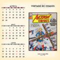 2018 Vintage DC Comics Desktop Calendar April Image