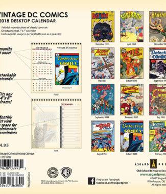 2018 Vintage DC Comics Desktop Calendar Back Cover