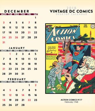 2018 Vintage DC Comics Desktop Calendar December Image