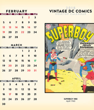 2018 Vintage DC Comics Desktop Calendar February Image