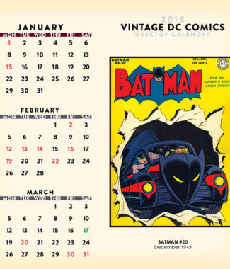2018 Vintage DC Comics Desktop Calendar January Image