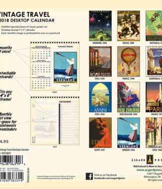 2018 Vintage Travel Desktop Calendar Back Cover