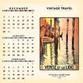 2018 Vintage Travel Desktop Calendar December Image