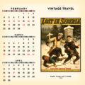 2018 Vintage Travel Desktop Calendar February Image