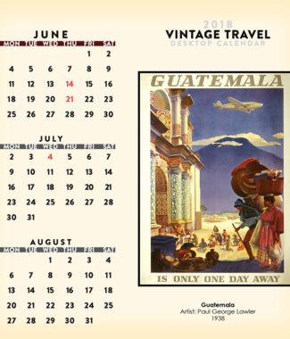 2018 Vintage Travel Desktop Calendar June Image