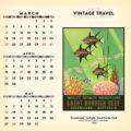 2018 Vintage Travel Desktop Calendar March Image