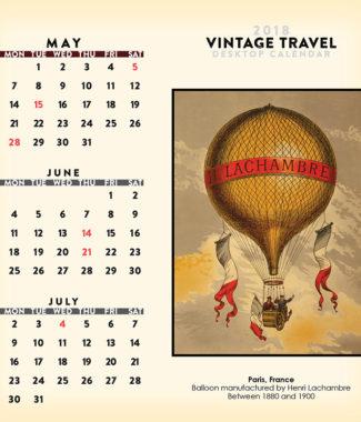 2018 Vintage Travel Desktop Calendar May Image