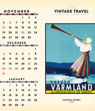 2018 Vintage Travel Desktop Calendar November Image
