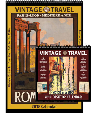 2018 Vintage Travel Calendar and Desktop Combo