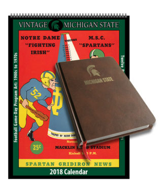2018 Vintage Michigan State Spartans Football Calendar / Journal Book Combo Set