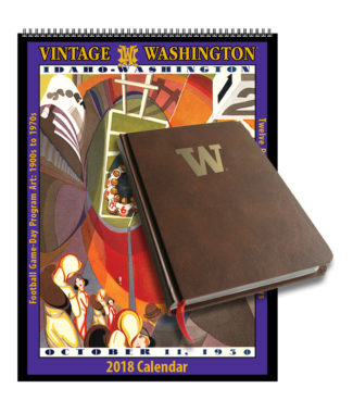 2018 Vintage Washington Huskies Football Calendar / Journal Book Combo Set