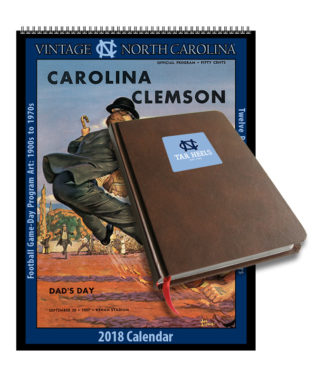 2018 Vintage North Carolina Tar Heels Football Calendar / Journal Book Combo Set