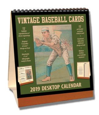 2019 Vintage Baseball Cards Desktop Calendar