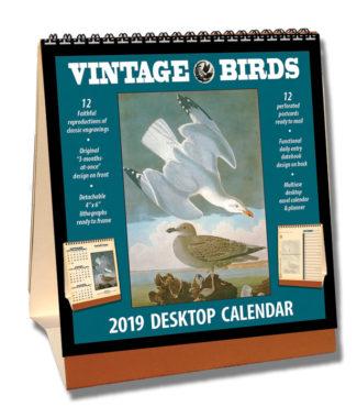 2019 Vintage Birds Desktop Calendar