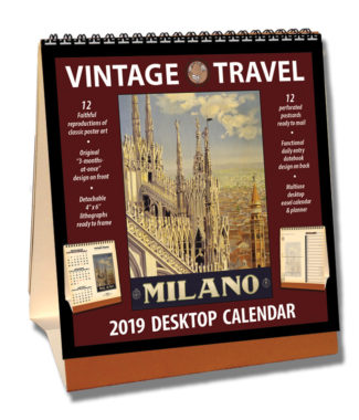 2019 Vintage Travel Desktop Calendar
