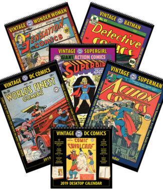 2019 Vintage DC Comics Wall Calendars/Desktop Calendar Combo Set