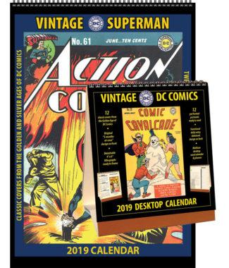 2019 Vintage Superman Calendar & Vintage DC Comics Desktop Calendar Combo Set