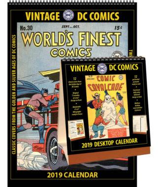 2019 Vintage DC Comics Calendar & Desktop Calendar Combo Set